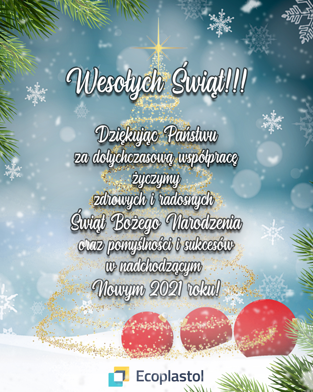 Wesołych Świąt Bożego Narodzenia oraz Szczęśliwego Nowego Roku